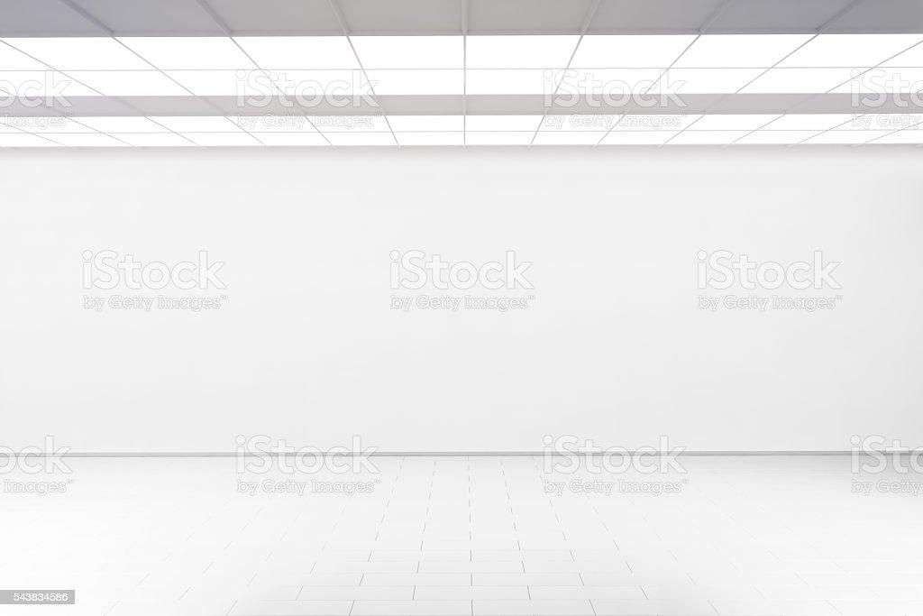 Empty big hall wall mockup, nobody, 3d rendering. stock photo