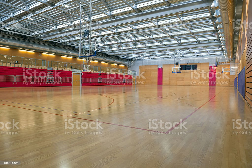 Empty Big Sports Hall with Metal Roof royalty-free stock photo