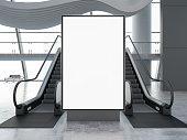 istock Empty Bilboard with Escalator in Airport 1264110500