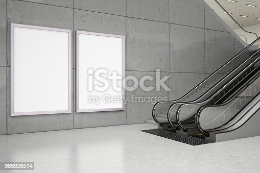 istock Empty Bilboards with Escalator 966926514