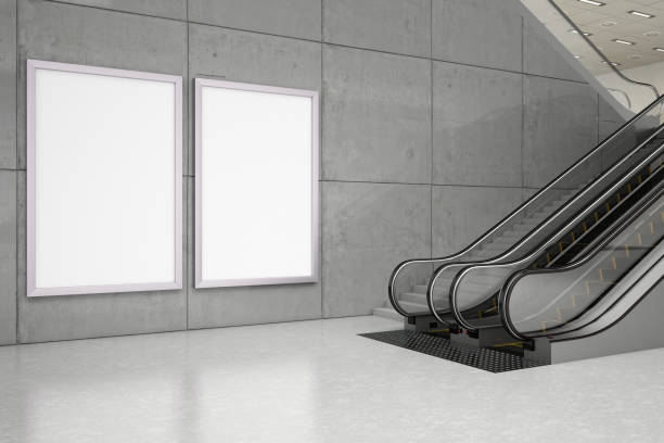 Empty Bilboards with Escalator stock photo