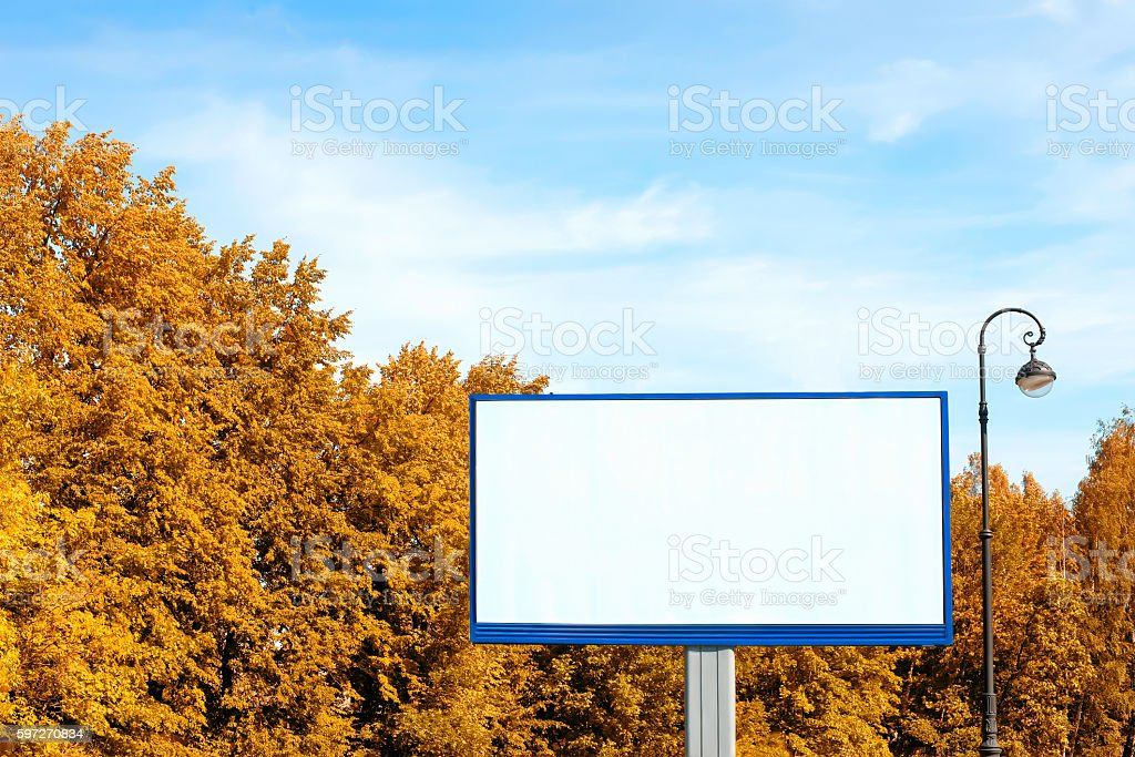 Empty billboard against autumn landscape royalty-free stock photo
