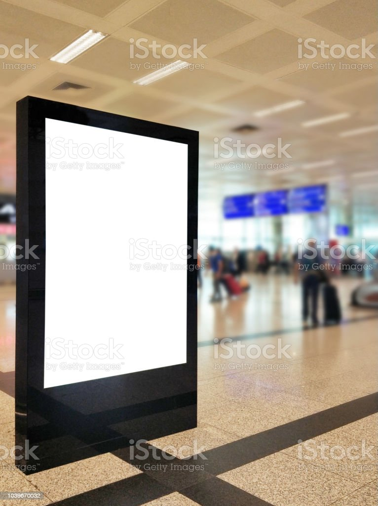 Empty Billboard Frame With Clipping Path At The Defocused