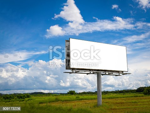 istock Empty billboard in front ofcloudy sky in a rural location 509173226
