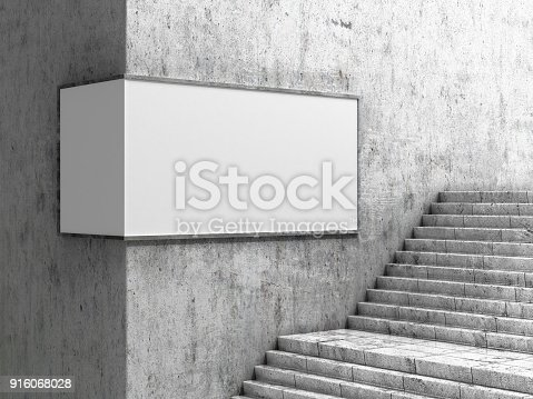 istock Empty billboard, located in the underground hall, next to the steps. 3d illustration 916068028