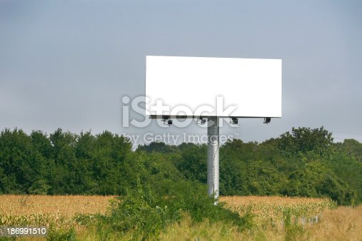 istock Empty billboard on background of sunset sky 186991510