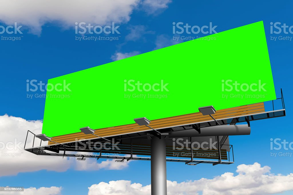 empty billboard with chroma key green screen, on blue sky with clouds, advertisement