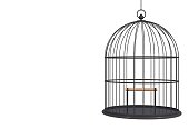 Empty bird black cage Isolated on white background, 3D rendering