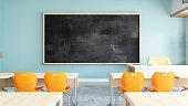 istock Empty Black Board in Classroom 1255173582
