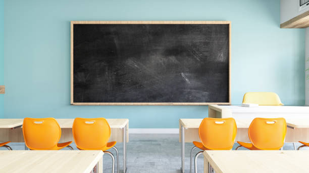 Empty Black Board in Classroom Empty Black Board in ClassRoom. 3d Render classrooms stock pictures, royalty-free photos & images