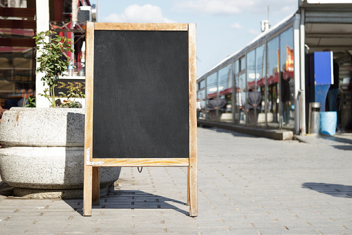 istock Empty black board ( cafe menu board) 672541622