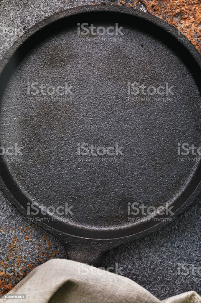 Empty Black Cast Iron Pan On An Old Protvine With Copy Space