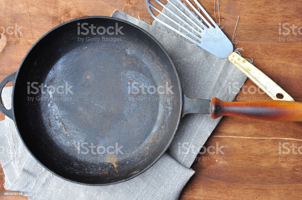 Empty black cast-iron frying pan royalty-free stock photo