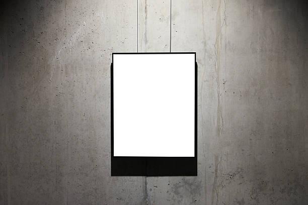 empty black frame on concrete wall - bilder poster stock-fotos und bilder