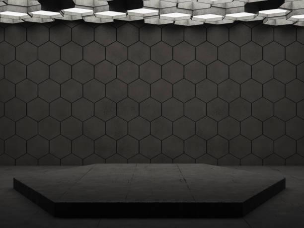 空黑色幾何六角形牆 - 蜂巢式樣 個照片及圖片檔
