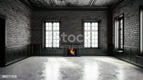 Black interior with windows and a fireplace