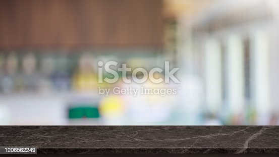 662984994 istock photo Empty black marble stone table top and blur glass window interior restaurant banner mock up abstract background - can used for display or montage your products. 1206562249