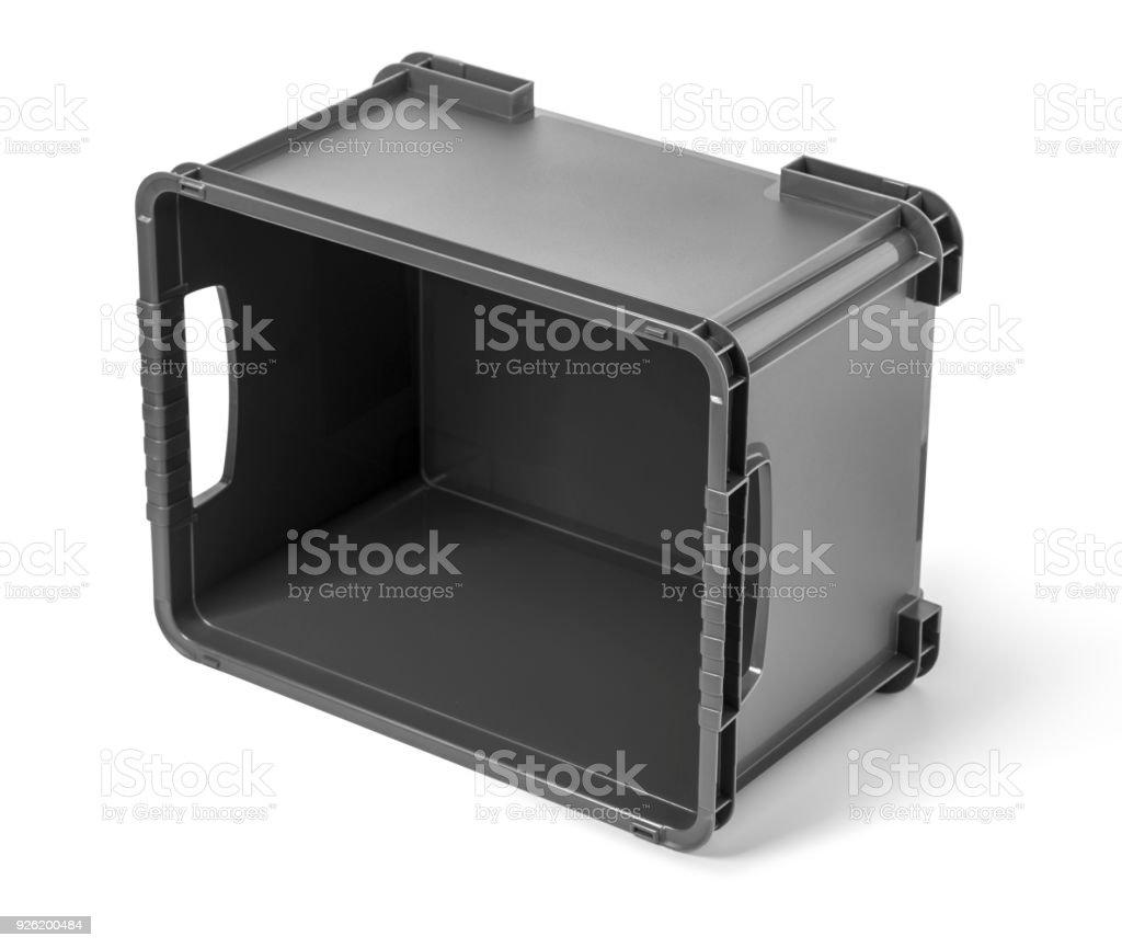 Empty black plastic container stock photo