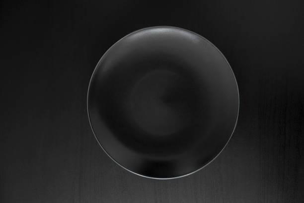Empty black plate stock photo