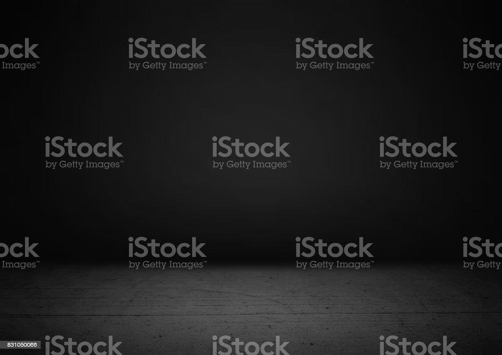 Empty black product showcase background stock photo