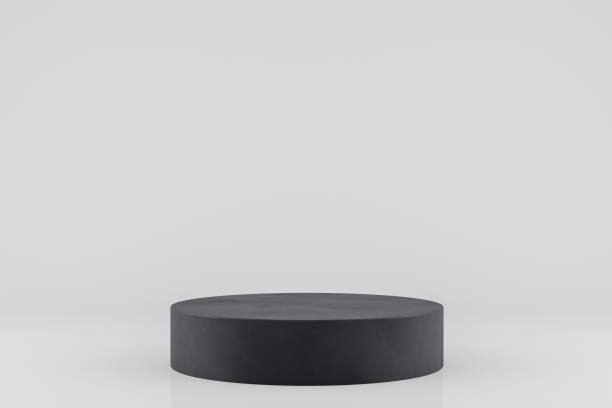 3d empty black product stand, platform, podium - piedistallo foto e immagini stock