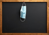 istock empty black school chalk board, a disposable medical mask hanging on a red button 1253631552