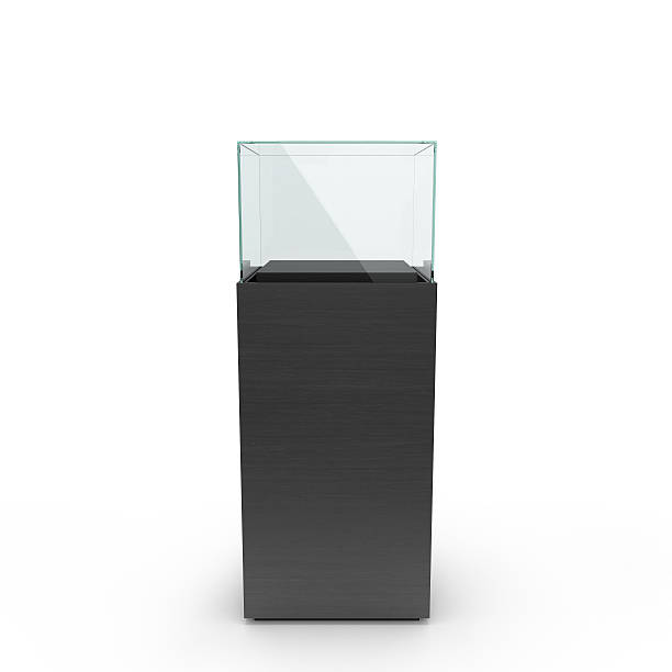 empty black showcase with pedestal - retail display stock photos and pictures
