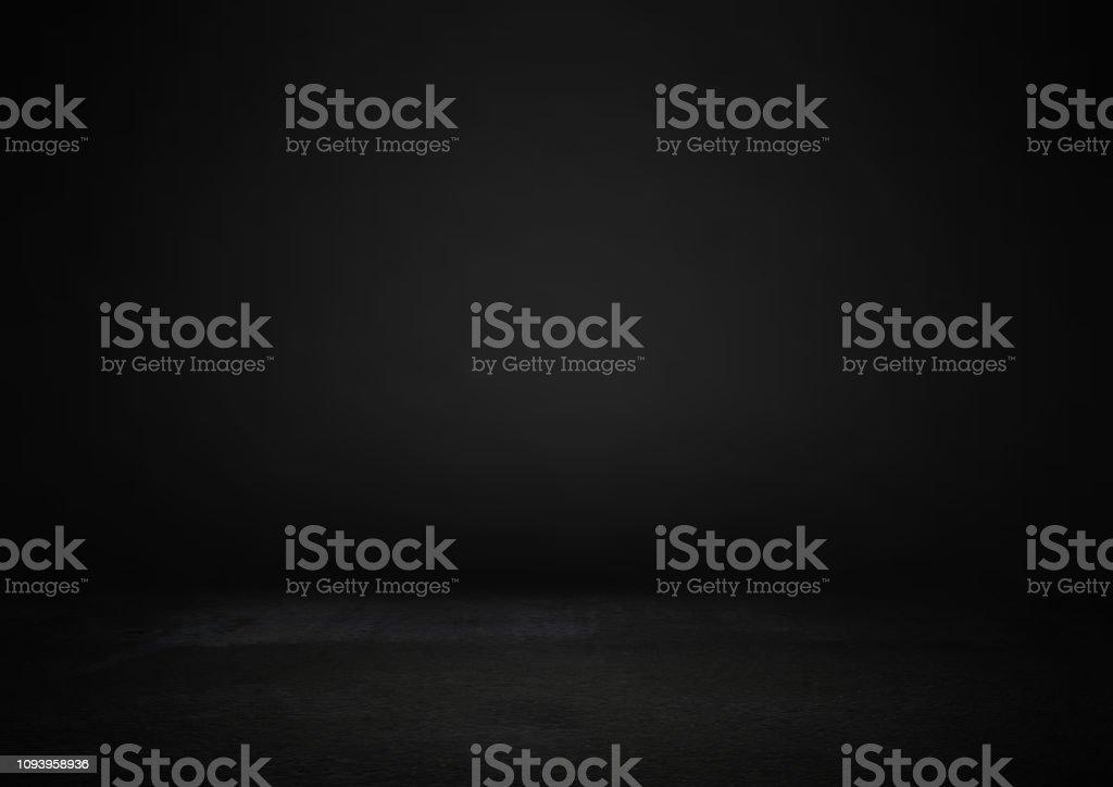 Sala de estudio negro vacío, utilizado como fondo para producto Mostrar. foto de stock libre de derechos