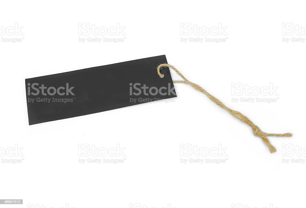 empty black tag tied with brown string royalty-free stock photo