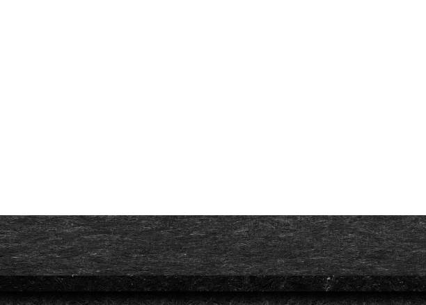 Leere schwarze Holz Tischplatte isoliert auf weißem Hintergrund. Vorlage für die Anzeige des Produkts mock – Foto