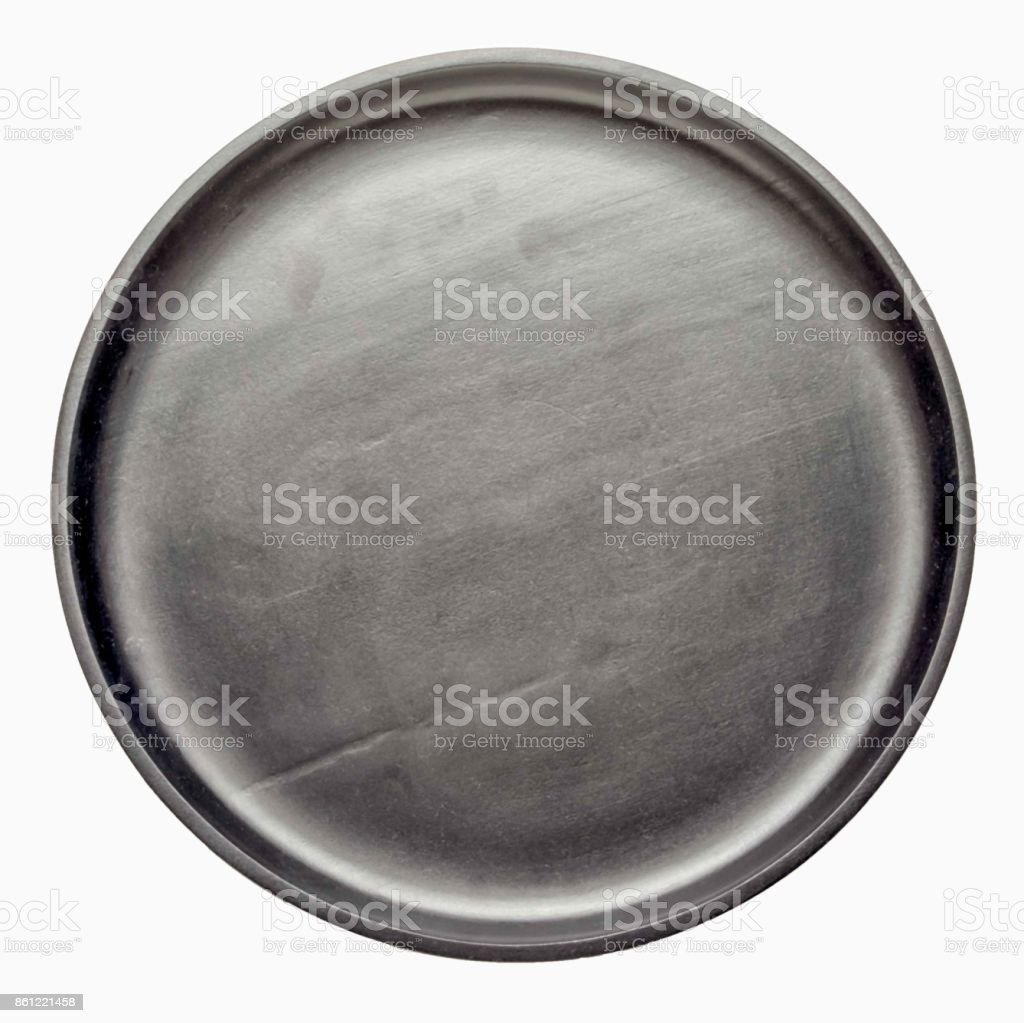empty black wooden circle tray isolated on white background, top view. royalty-free stock photo