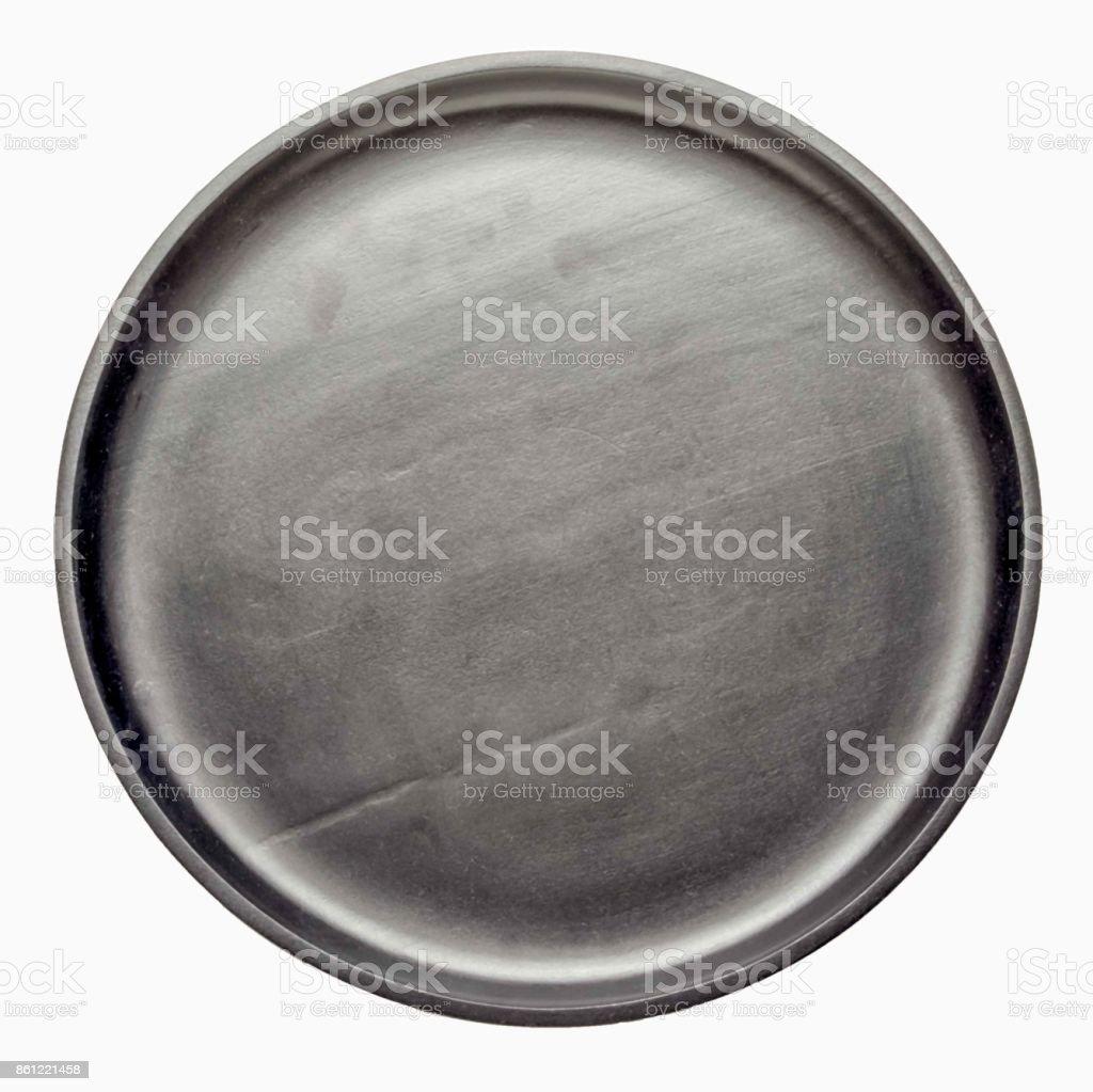 bandeja de círculo de madeira preto vazio isolada no fundo branco, vista superior. - foto de acervo