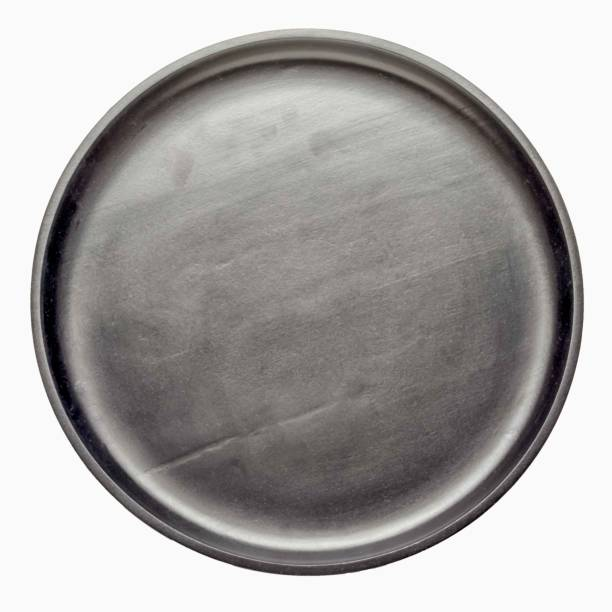 empty black wooden circle tray isolated on white background, top view. stock photo