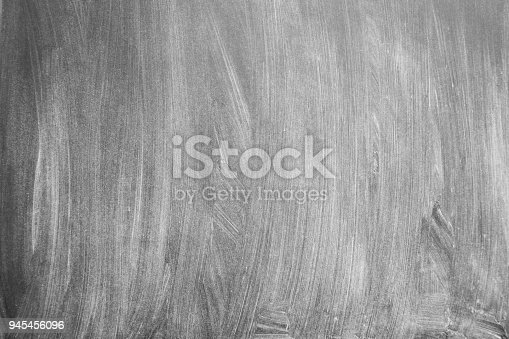istock Empty blackboard with slight rests of chalk as background 945456096