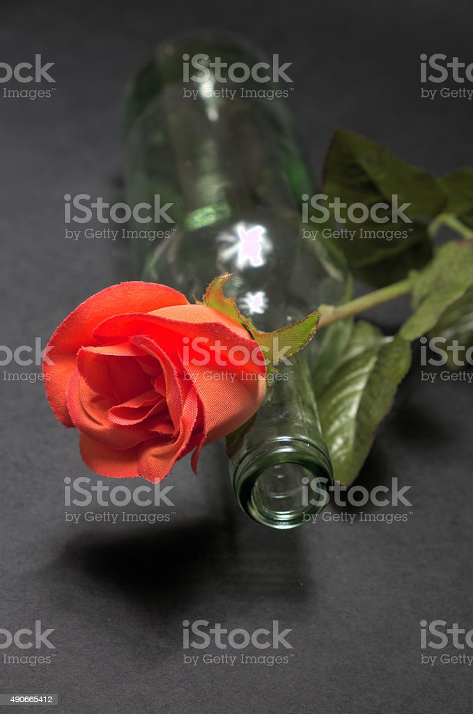 Empty Blanc Wine Bottle Witk Red Rose On Black Background Stock Photo Download Image Now Istock
