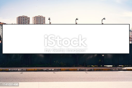 istock Empty blank billboard in Istanbul City. Urban city setting. 1141031498