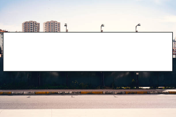 Empty blank billboard in Istanbul City. Urban city setting. Billboard, Poster, Road Sign, Street Light, Banner - Sign billboard stock pictures, royalty-free photos & images