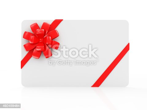 670414478 istock photo Empty Blank Gift Card with Red Ribbon and Bow 492459484
