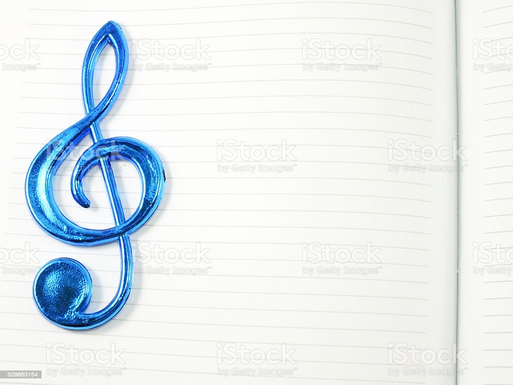 empty blank notebook page with music note stock photo