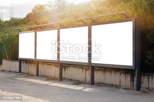 istock Empty / blank outdoor advertising billboards by Bosphorus in Istanbul. 1078507564
