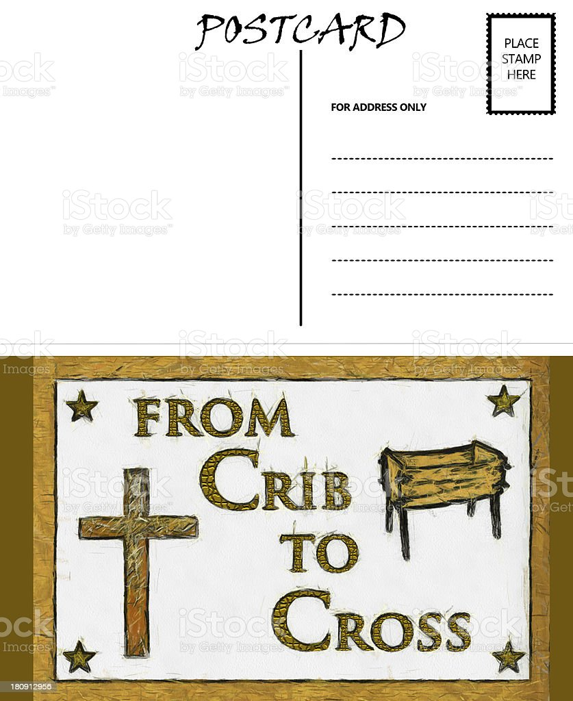 Empty Blank Postcard Template Crib And Cross Image Stock Photo ...