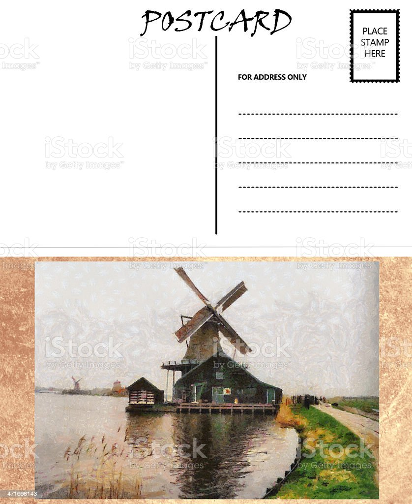 empty blank postcard template dutch windmill image stock photo