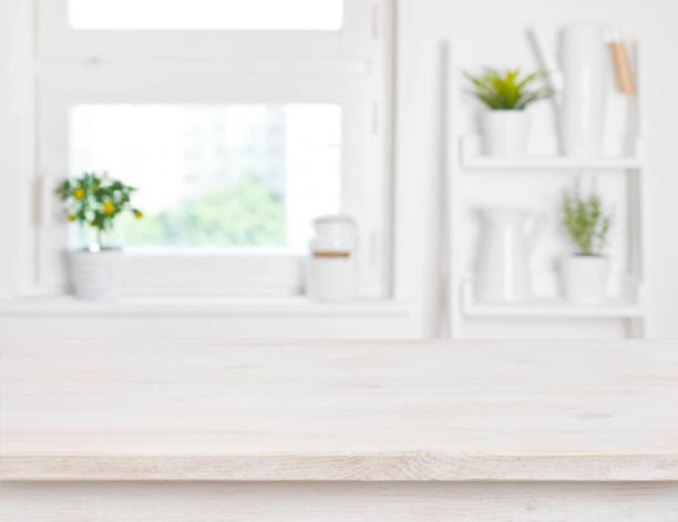 Empty bleached wooden table and kitchen window shelves blurred picture id693744752?b=1&k=6&m=693744752&s=612x612&w=0&h=hk8chcq8 gsn0s10ifuvfcj7pdhur39uqfwcbc8crdg=