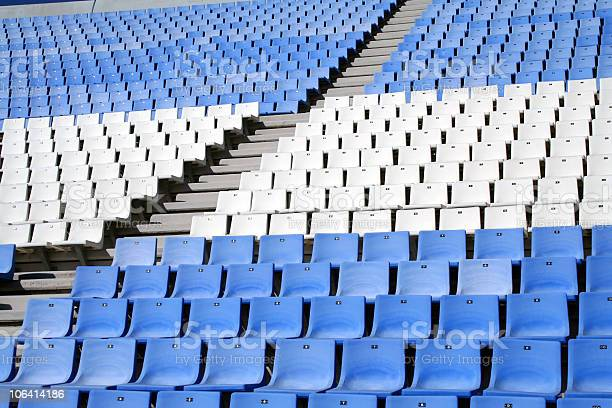 Empty bleacher seated blue and white