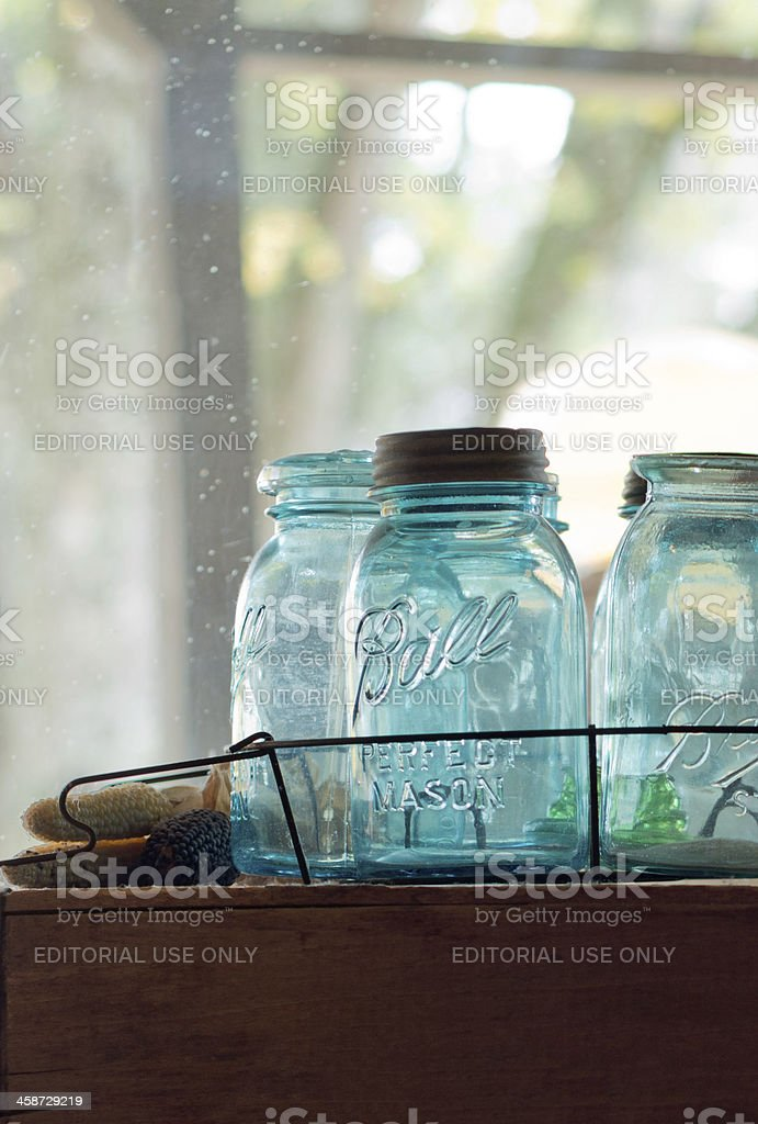 Empty Blue Ball Canning Jars stock photo