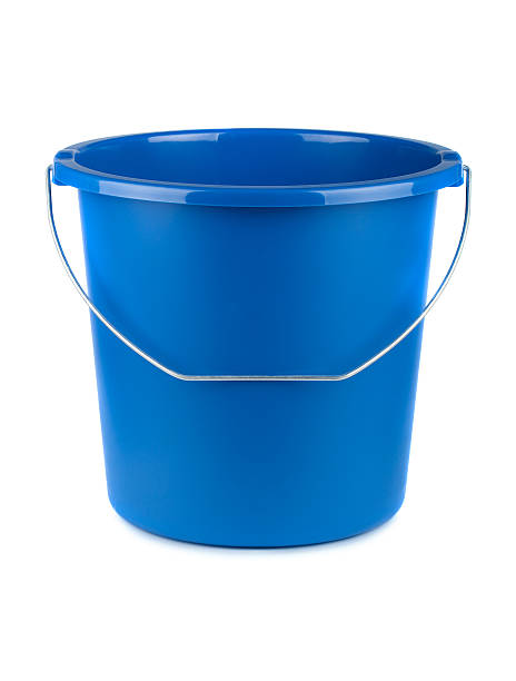 Empty blue bucket Empty blue bucket isolated on a white background bucket stock pictures, royalty-free photos & images