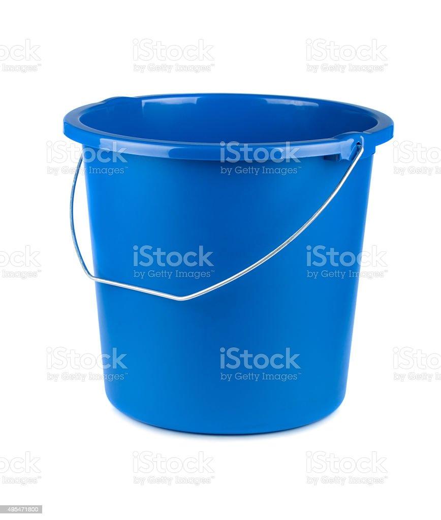 Empty blue bucket stock photo