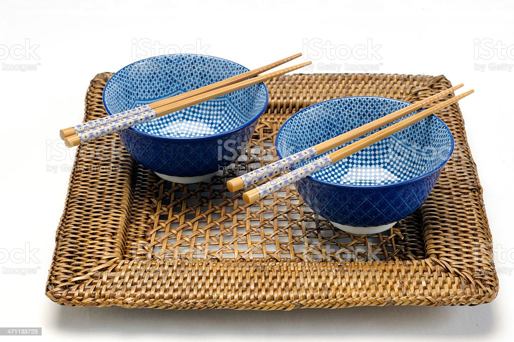 empty blue Chinese porcelain rice bowls with chopsticks XXXL royalty-free stock photo