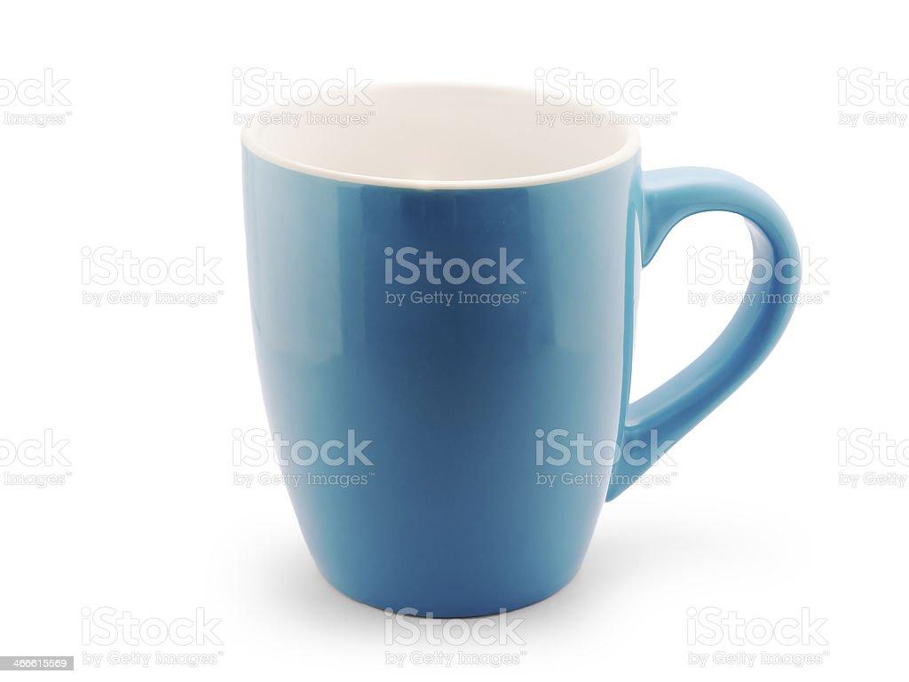 Azul vacía taza de café Aislado en blanco - foto de stock