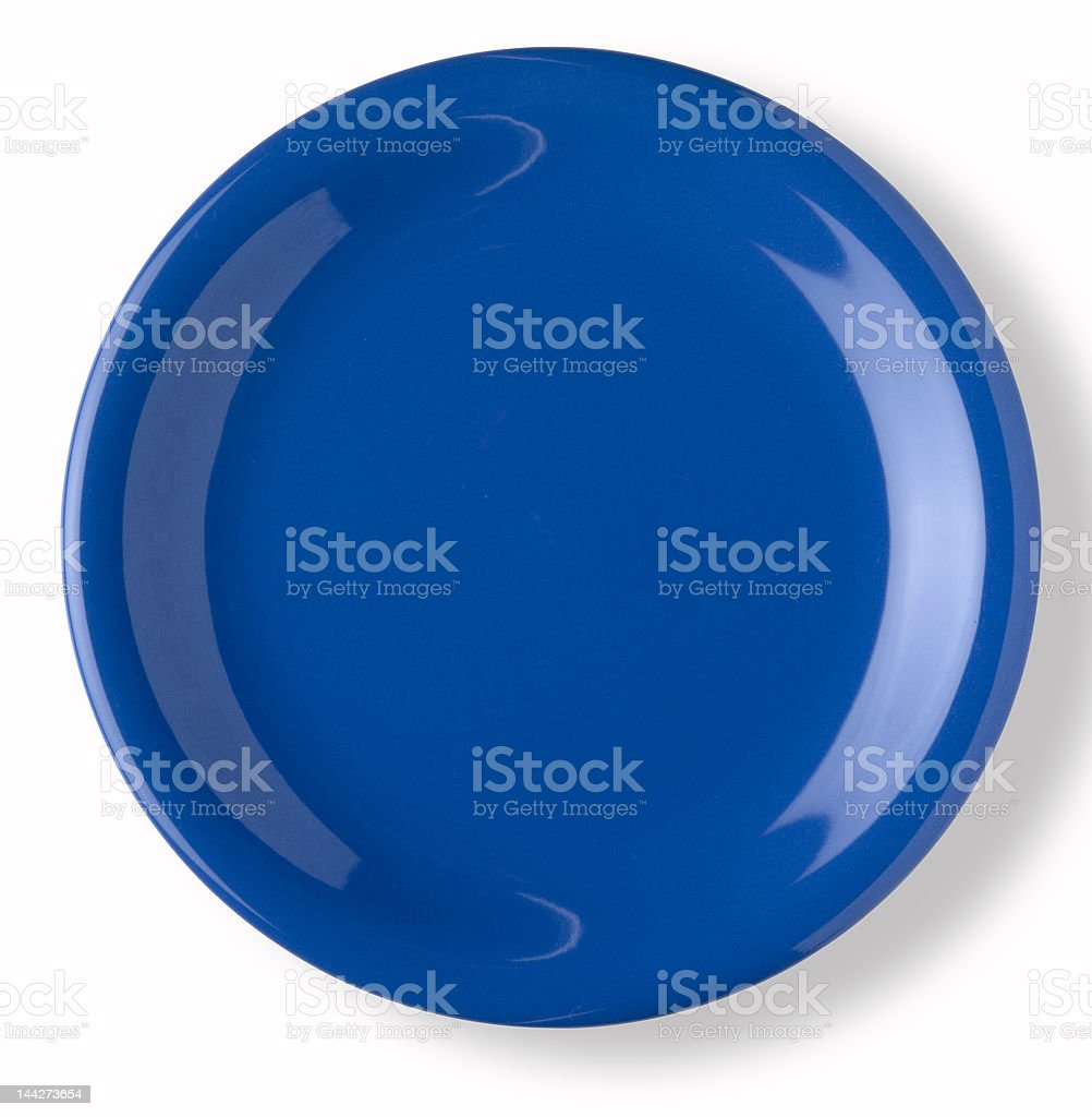 empty blue dish stock photo